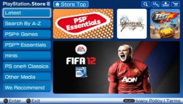 PSN Store na PSP-u je dostupan od verzije firmvera 5.00