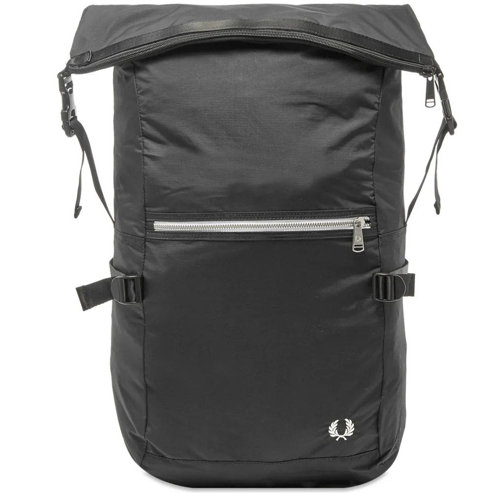 Fred Perry Authentic Roll Top Backpack Black | END.
