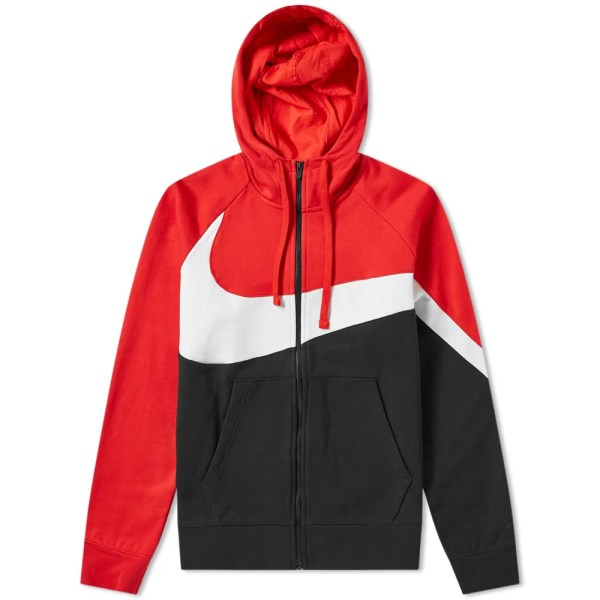 Nike Big Swoosh Zip Hoody Red White & Black End