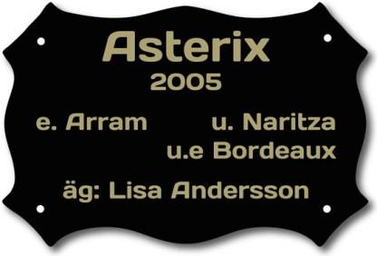 Boxskylt Svart/Guld Form 6