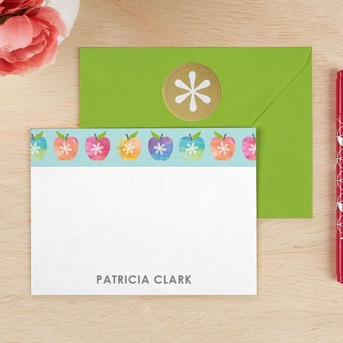 watercolor apples personalized stationery