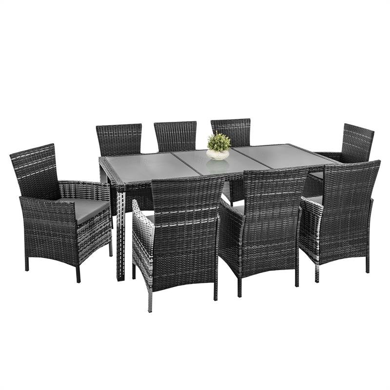 Rattan Sitzgarnitur braun grau Polyrattan Gartenmbel set Essgruppe Sitzgruppe  eBay