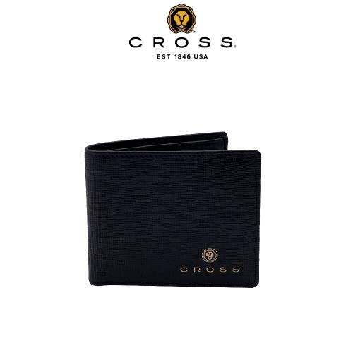 [CROSS] 頂級NAPPA小牛皮十字紋8卡男用皮夾(黑色 威廉系列)