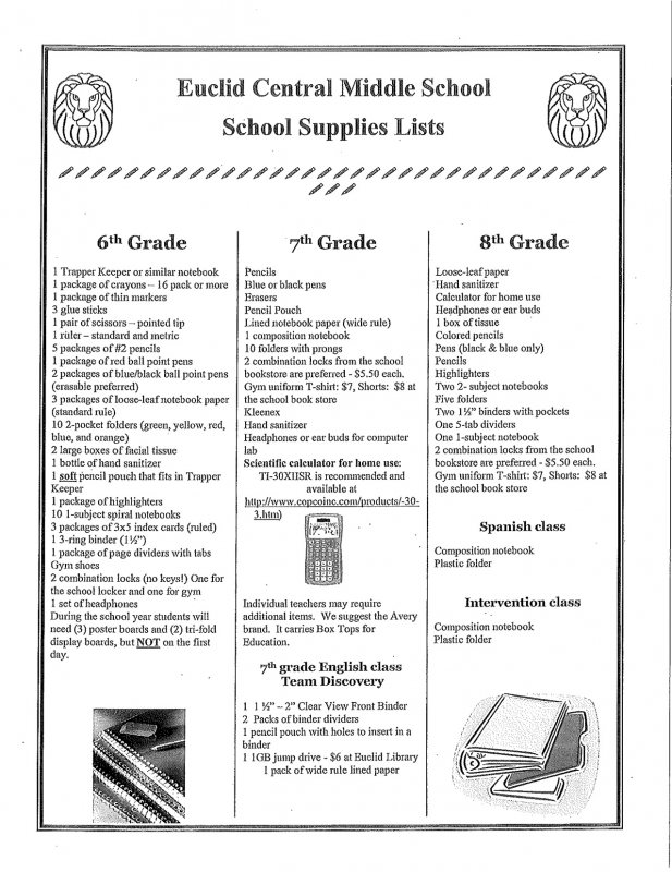 School Supply List: Central Middle School Supply List