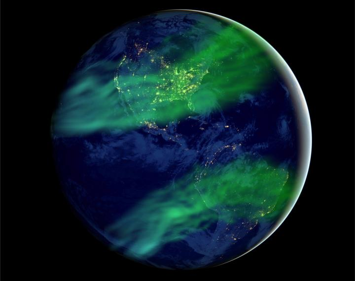 IMAGE: THIS IS AN ARTISTIC IMPRESSION OF HOW AURORAS COULD BE MORE WIDESPREAD UNDER A GEOMAGNETIC FIELD MUCH WEAKER THAN TODAY'S. view more