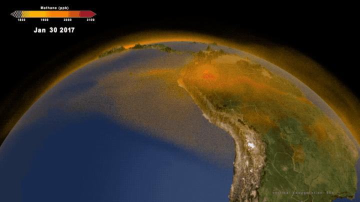 NASA's new 3-dimensional portrait of methane shows the world's second largest contributor to greenhouse warming as it travels through the atmosphere. Combining multiple data sets from emissions inventories and simulations of wetlands into a high-resolution computer model, researchers now have an additional tool for understanding this complex gas and its role in Earth's carbon cycle, atmospheric composition, and climate system. The new data visualization builds a fuller picture of the diversity of methane sources on the ground as well as the behavior of the gas as it moves through the atmosphere.Credit: NASA/Scientific Visualization Studio