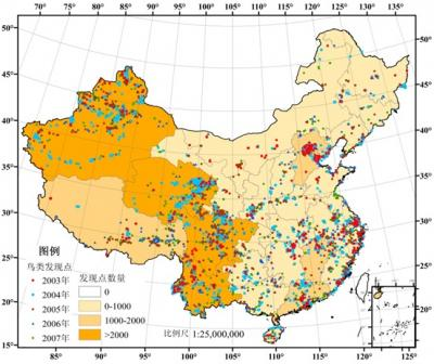 This is a distribution map of bird watching records from 2003 to 2007 in China