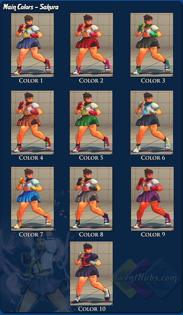 Costume And Alternative Outfit Colors For Sakura Street