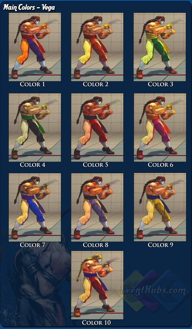 Costume And Alternative Outfit Colors For Vega Claw