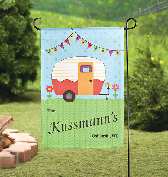 Personalized Happy Campers Garden Flag Yard Flags Exposures