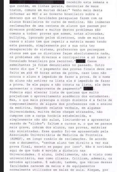 Parte de las denuncias recogidas por los cuatro consulados brasileños en Paraguay, a pedido del Ministerio de Educación del Brasil.