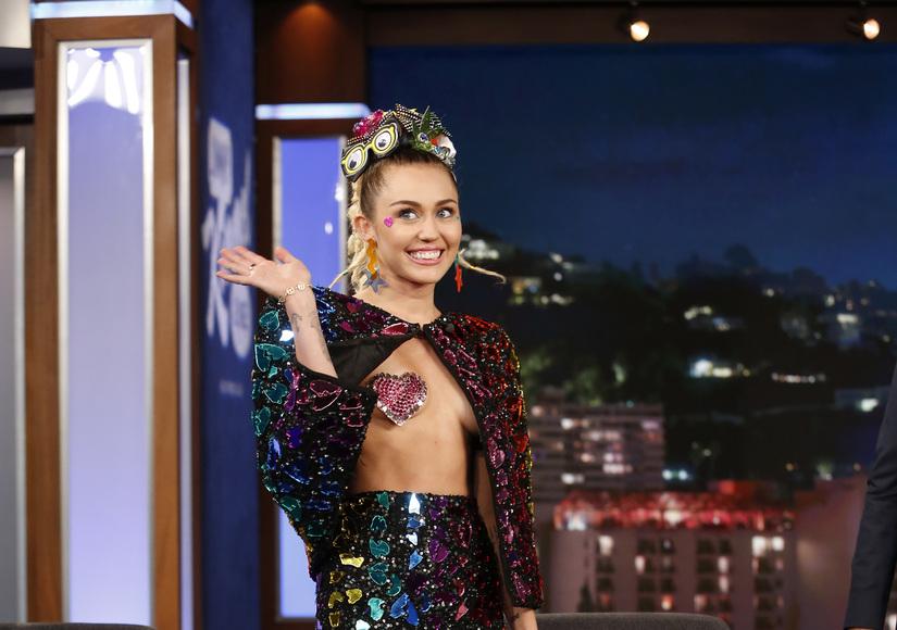 Boob Tube Miley Cyrus Wears Pasties Makes Jimmy Kimmel