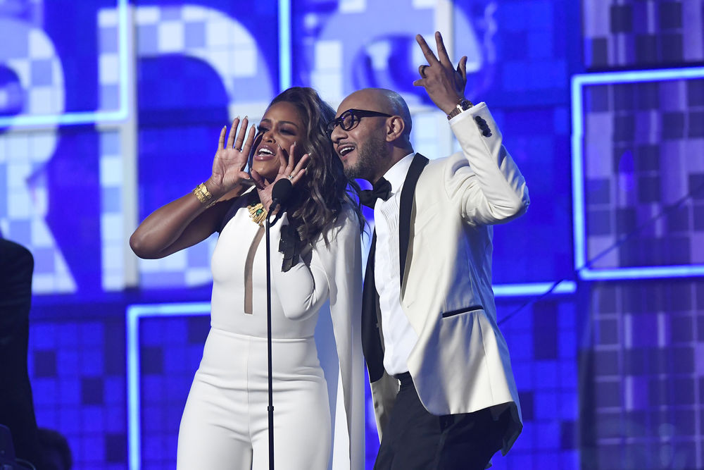 Eve and Swizz Beatz speak onstage during the 61st Annual GRAMMY Awards