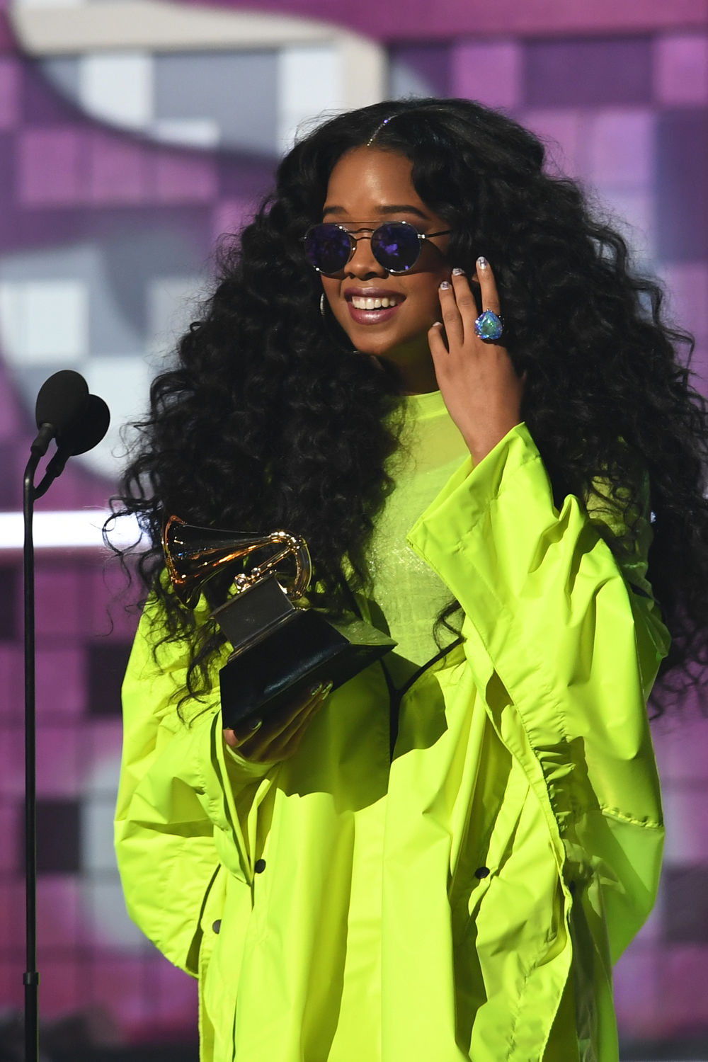 Gabriella Wilson, aka H.E.R., accepts the award for Best R&B Album onstage during the 61st Annual Grammy Awards