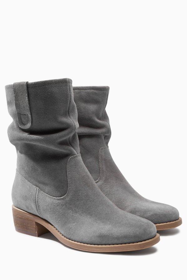 Grey Square Toe Suede Slouch Ankle Boot Online