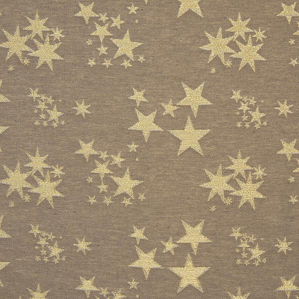 tessuto arredo jacquard Lurex stelle  marrone chiarooro
