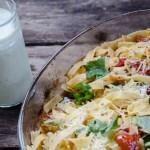 Tagliatelle med ugnsrostade grönsaker och pestosås