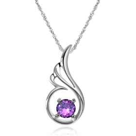 Exquisite Angel's Love Purple Crystal Silver Pendant