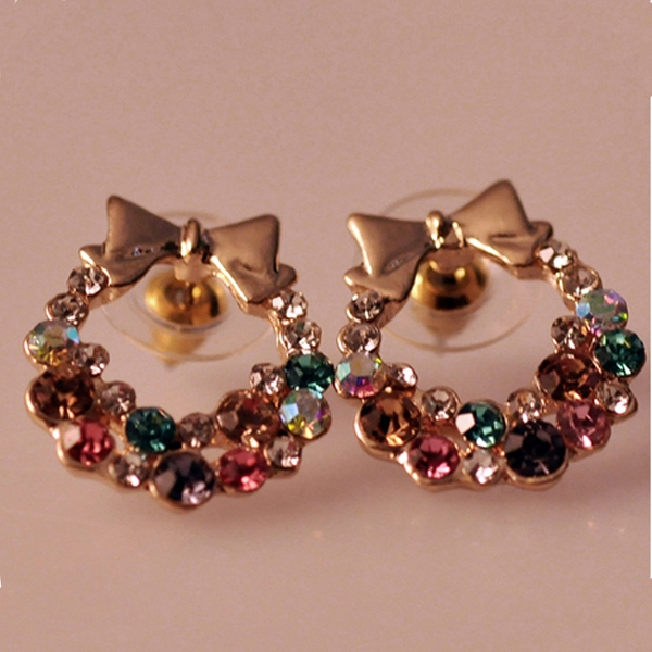 Unique Multi Color Ladies Bowknot Stud Earrings For Girls