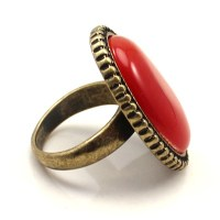 Large Red Natural Stone Cocktail Ring - Cocktail Rings - Rings
