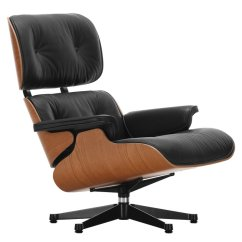 Vitra Lounge Chair Recliner Covers Ikea Eames New Size American Cherry Black Leather
