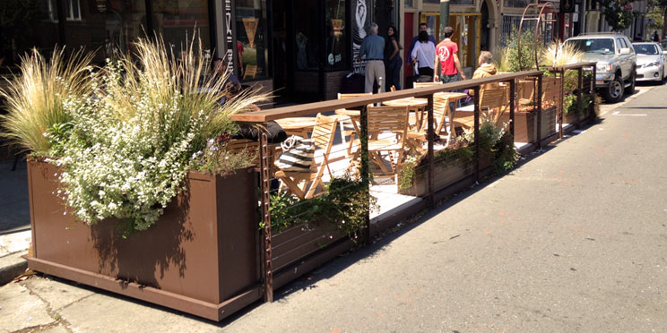 Feeney Features Blog San Franciscos Blue Fig Parklet Community Space Featuring CableRail Railing