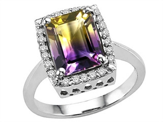 Tommaso Design Rare Emerald Cut Bicolor Ametrine and Diamond Ring  25627  Finejewelerscom