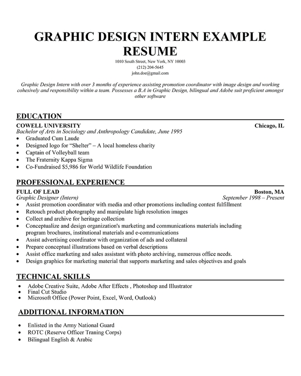Internship Resume Internship Resume Samples Writing Guide Resume