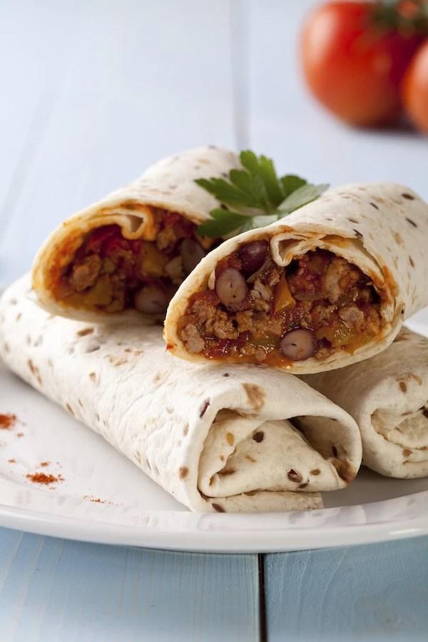 Bean Red Chicken Cheese Burritos