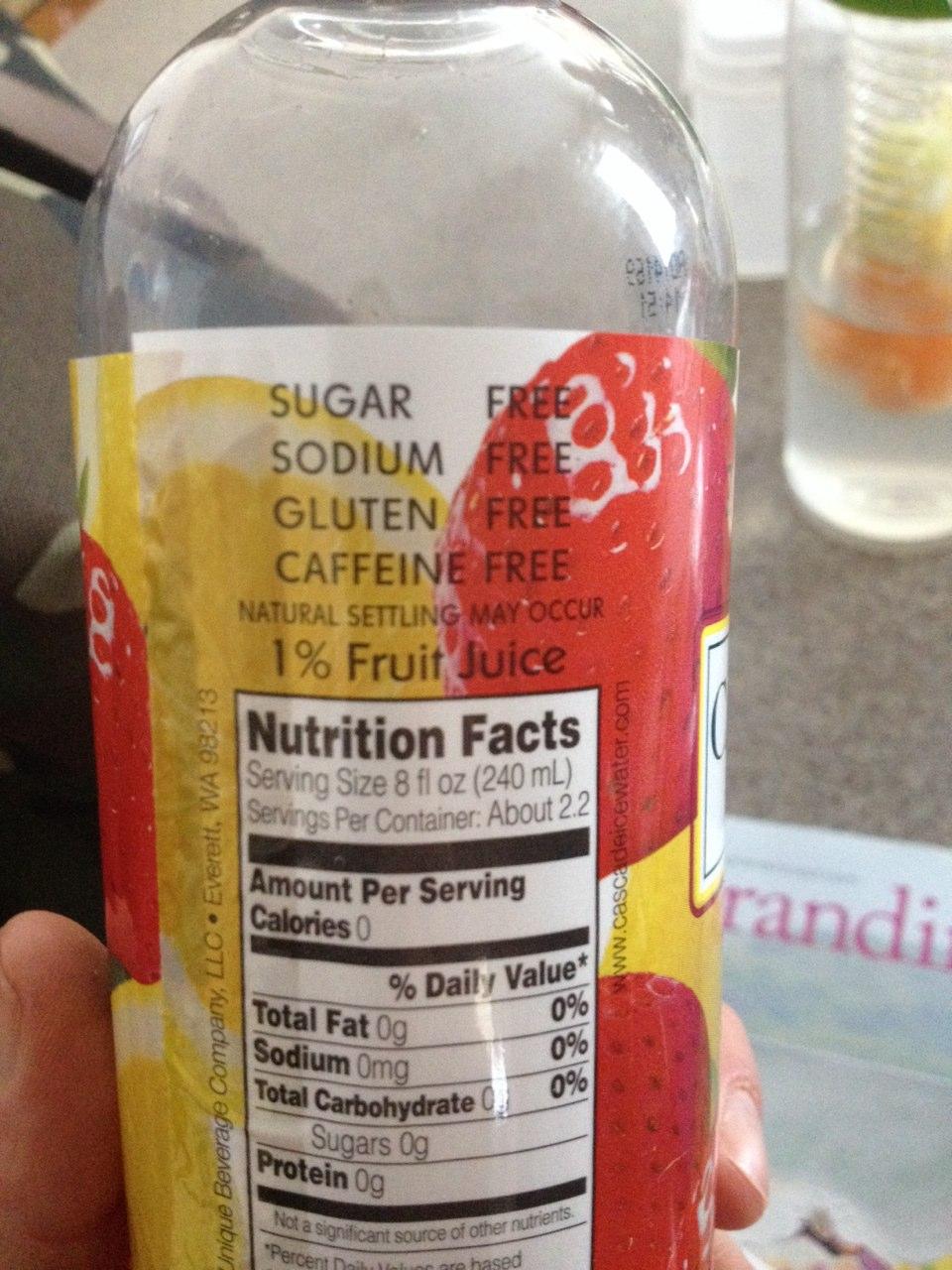 Cascade Ice Sparkling Water Strawberry Lemonade Calories