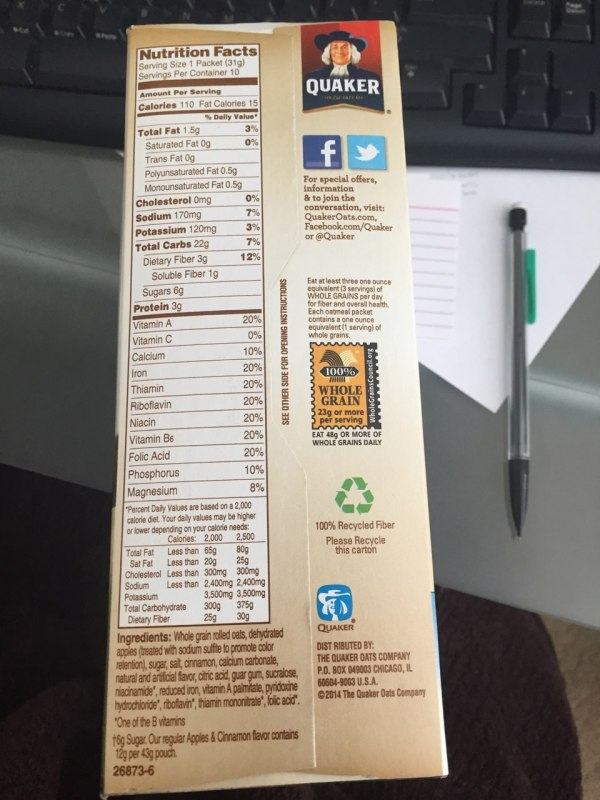 Quaker Oats Instant Grits Nutrition Facts