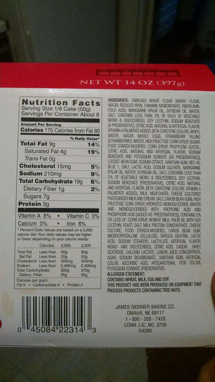 J.Skinner Sensational Strawberry Cheese Danish: Calories ...