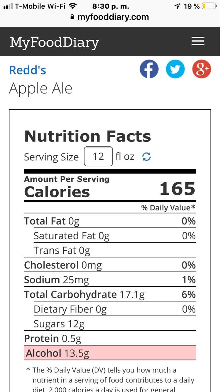 Redd's Apple Ale Sugar Content : redd's, apple, sugar, content, Redd's, Apple, Calories,, Nutrition, Analysis, Fooducate