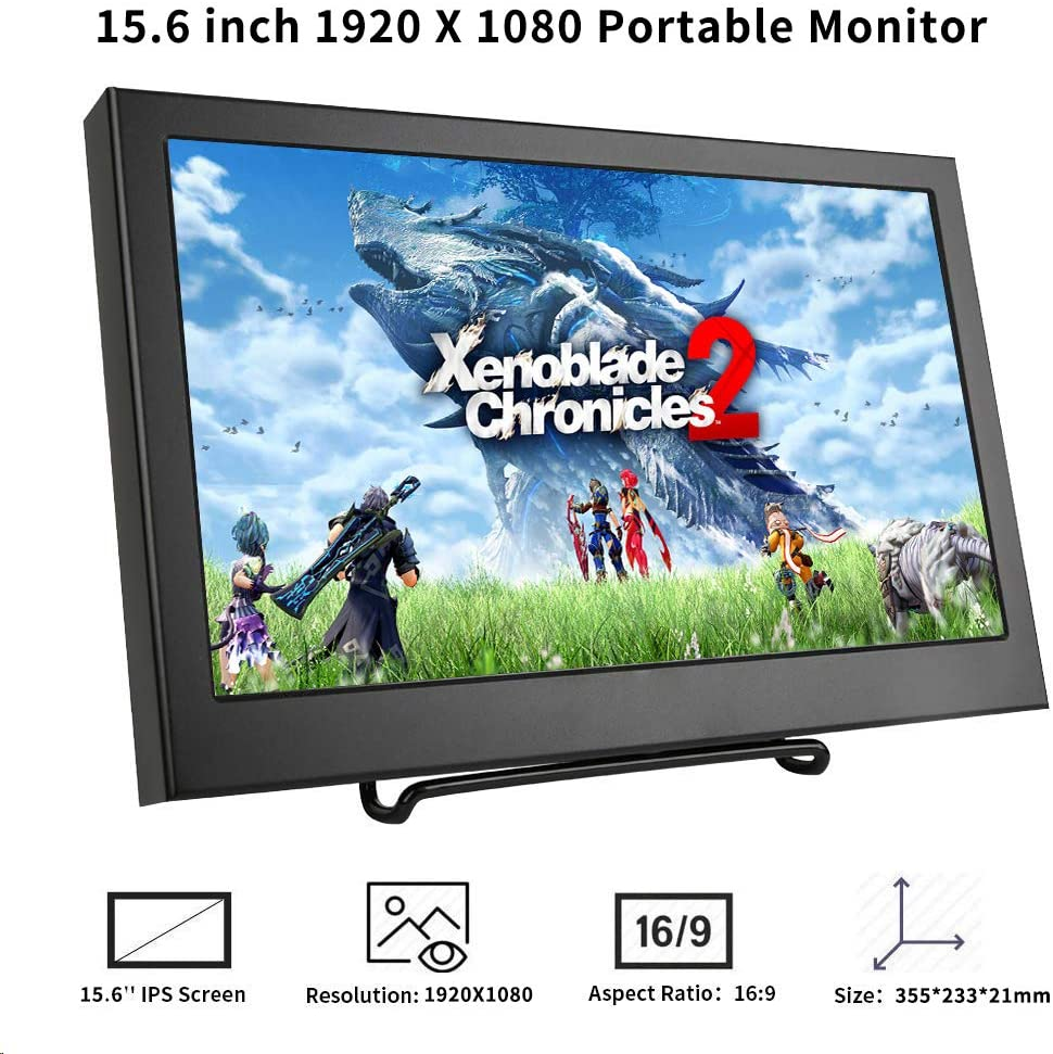 Portable HDMI monitor. Kenowa 15.6 inch FULL HD IPS 1920 x1080 Gaming Display with HDMI VGA video input port for PS4/XBOX/Raspberry Pi/Laptop PC ...