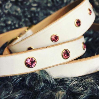 HAlsband och koppel vitt med rosa