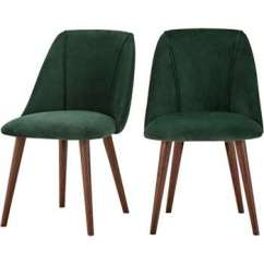 Green Dining Chair Covers Uk Fox Fishing Spares Chairs 2 X Lule Pine Velvet 83 53cm