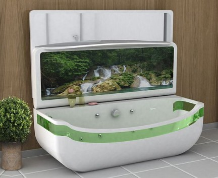 SubTub Whirlpool Bath  Washbasin Unit la vasca da bagno con megaschermo integrato