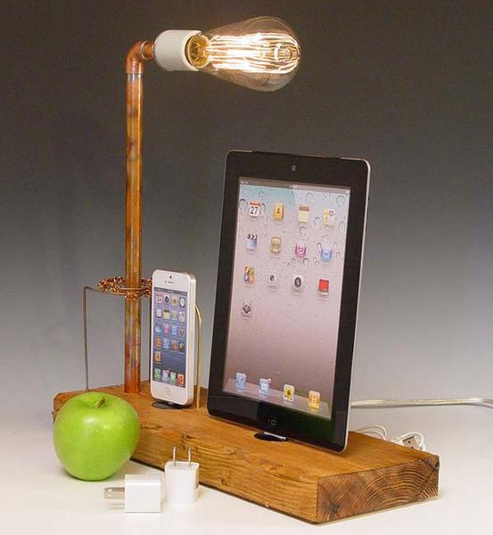 The Handmade Docking Station with Table Lamp for iPhone