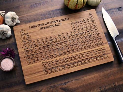Periodic table wooden cutting board periodic diagrams science the handmade periodic table engraved wood cutting board gadgetsin urtaz Image collections