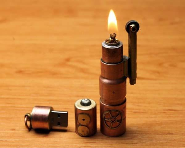 The Handmade Steampunk USB Flash Drive with Lighter  Gadgetsin