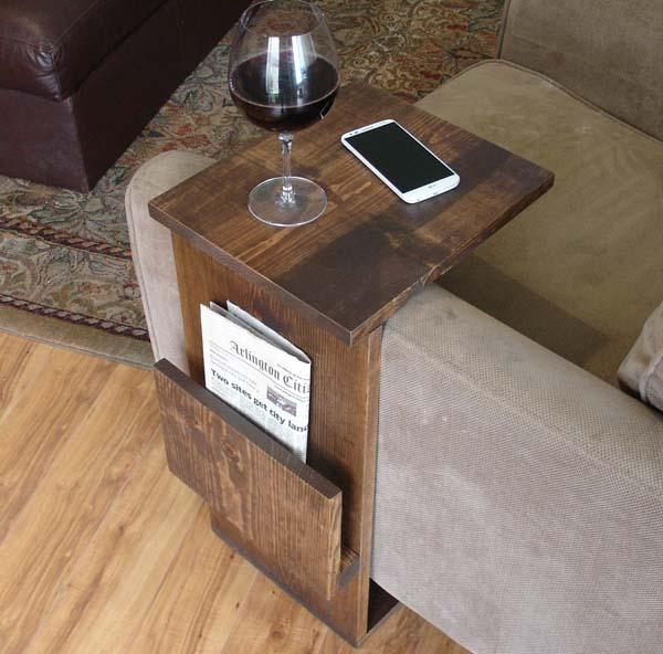 sofa arm tray wood chaise bed costco the handmade end table with side storage slot | gadgetsin