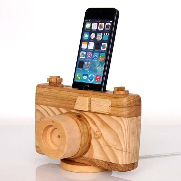The Handmade Wooden CamerShaped Charging Station for