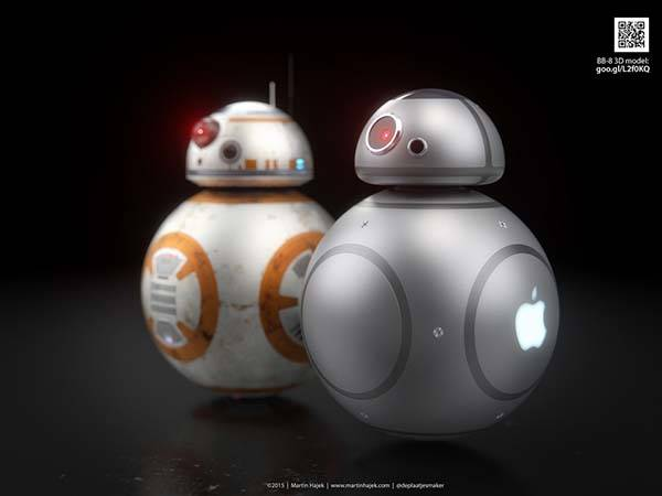 Cool 3d Art Wallpaper If Apple Designed Bb 8 Droid In Star Wars The Force