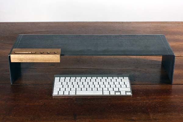 The Handmade Metal Monitor Stand with Integrated Wooden