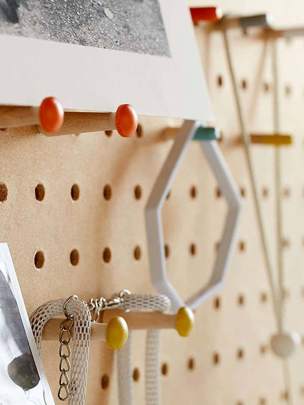 Block Design Wooden Peg Board Displays Your Favorite Items on the Wall  Gadgetsin
