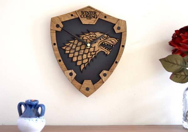 Handmade Game of Thrones House Stark Wooden Wall Clock