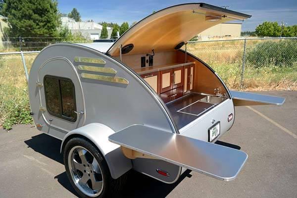 cool kitchen stuff hardwood cabinets oregon trail'r frontear teardrop camping trailer | gadgetsin