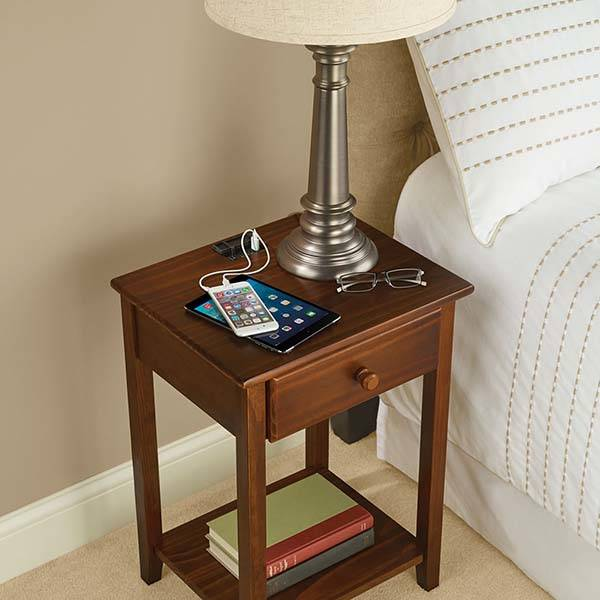 space saving sofa bed longest lasting fabric the wooden nightstand with integrated charging station ...