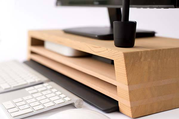 The Handmade Wooden Monitor Stand with Three Storage Areas
