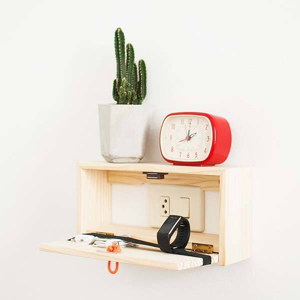 The Handmade Wooden Wall Shelf Fits Over Switch Plates